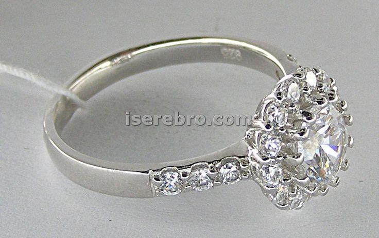 Серебряное кольцо женское со вставкой - 246 гривен. размер 17,5