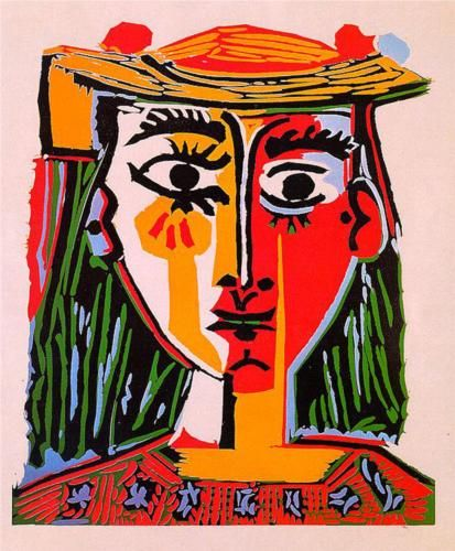 Pablo Picasso, Woman in a Hat with Pompoms and a Printed Blouse. 1962.