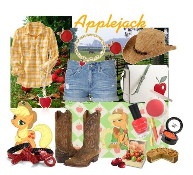 """""""MLP: FIM Applejack"""" by you-know-who-642 ❤ liked on Polyvore featuring My Little Pony, Justin, Old Navy, AG Adriano Goldschmied, Pineider, Forever 21, Estée Lauder, Beauty Is Life, Stila and applejack"""