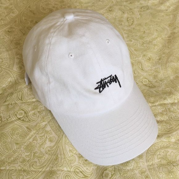 """Stussy Lo Pro Strapback Rare, sold out online, limited edition. Worn once. White, """"baseball cap"""" style, Stussy hat w/ black Stussy logo. Adjustable strap on the back. 9.5/10 condition. If you have a tie-dying kit, this would be a cool hat to tie-dye. Stussy Accessories Hats"""