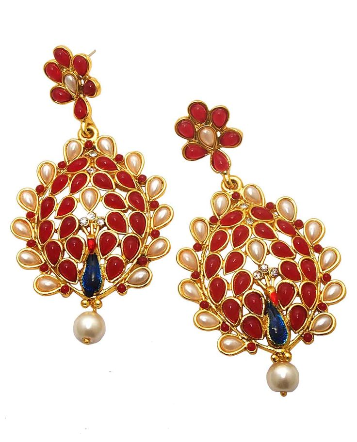 Best for festive & wedding wear, Kriaa Maroon Pota Kundan Pearl Drop Peacock Style Gold Plated Dangle Earrings @ Rs. 295/- Buy now at http://www.jewelmaze.in/product/AAA0493/Earrings/Kriaa-Multicolor-Meenakari-Pearl-Drop-Peacock-Gold-Plated-Da/?pd=EHE