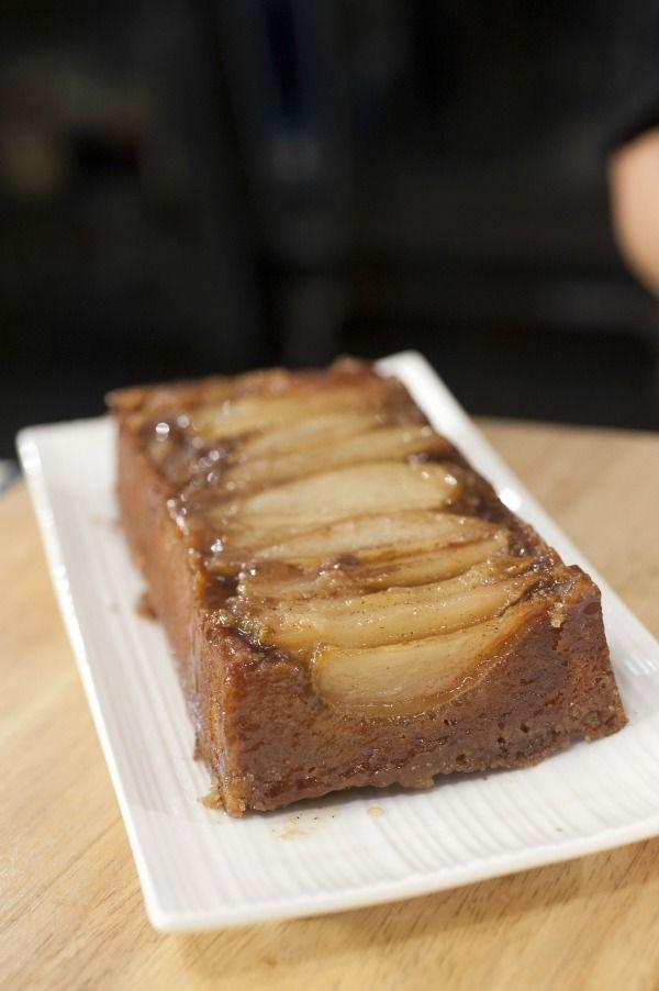 Upside Pear Crunch Coffee Cake