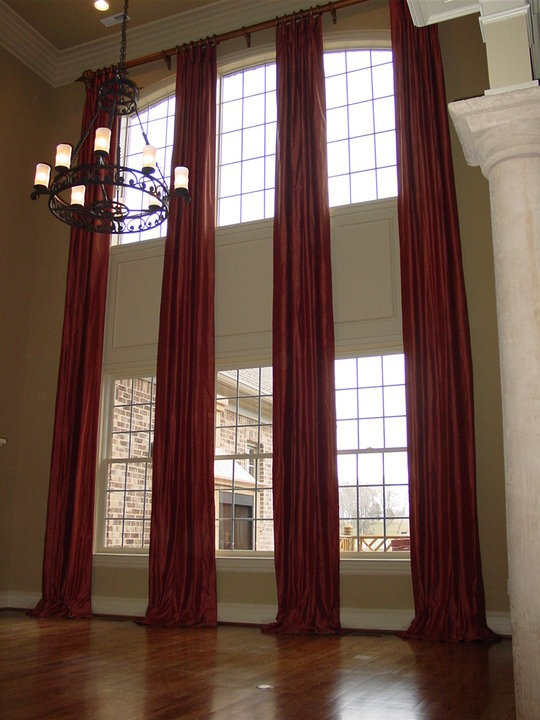 Idea For Our Living Room Windows. Two Story Curtains On A Rod Part 36