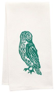 Hand-Printed Organic Owl Tea Towel - contemporary - Dishtowels - artgoodies