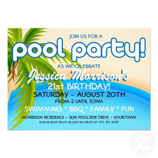 Pool Party Celebration Invitations