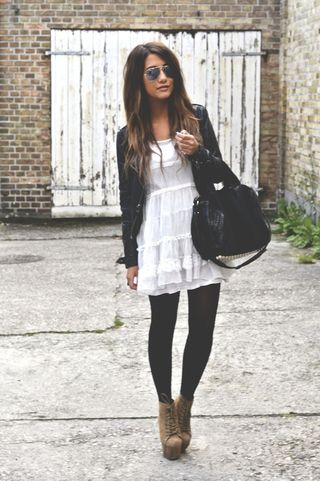 All Rules out the window, light summer white dress, black leather jacket, black tights and brown boots