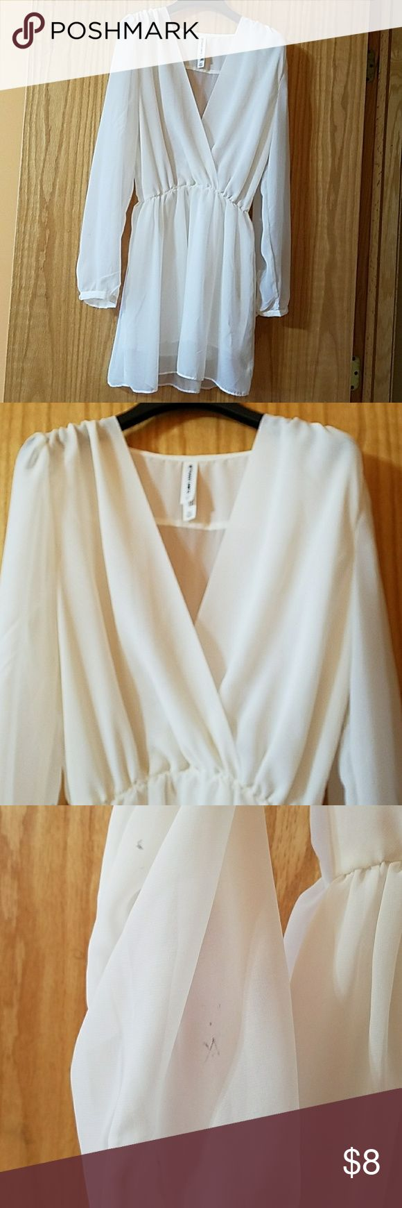 Sheer white dress from Bethany Mota collection Bethany Mota Collection. Hanger stain on right sleeve pictured above. Aeropostale Dresses Long Sleeve