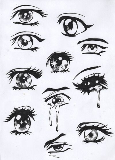 Types de dessins d'yeux de mangas ♥                                                                                                                                                                                 Más