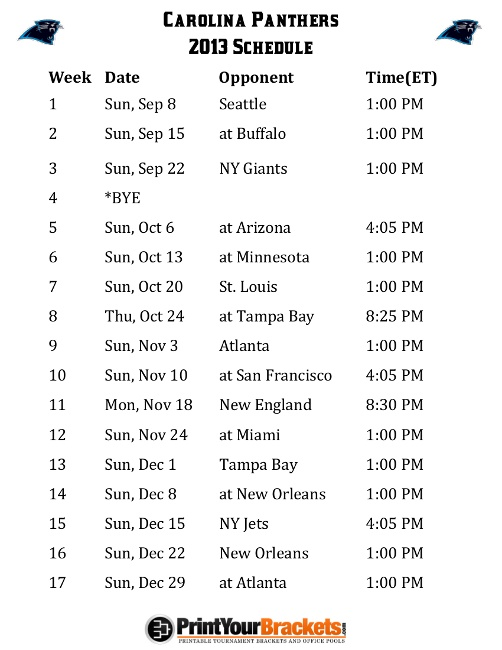 Printable Carolina Panthers Schedule - 2013 Football Season