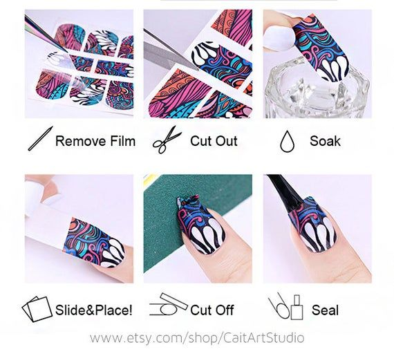 Nail Stickers – Nail Decals – Nail Water Decals – Nail Art Decal – Nail Fashion – Designs For Nails – Nail Tattoos – OS-B033-158
