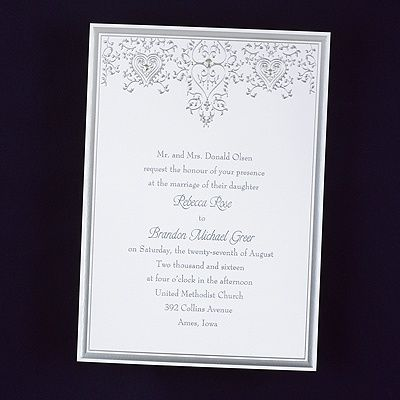 Hearts And Vines Wedding Invitations Features A Bright White Invitation  Card Features A Rich Silver Border