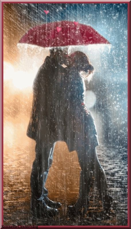 kissing in the rain gif movement click to see animation