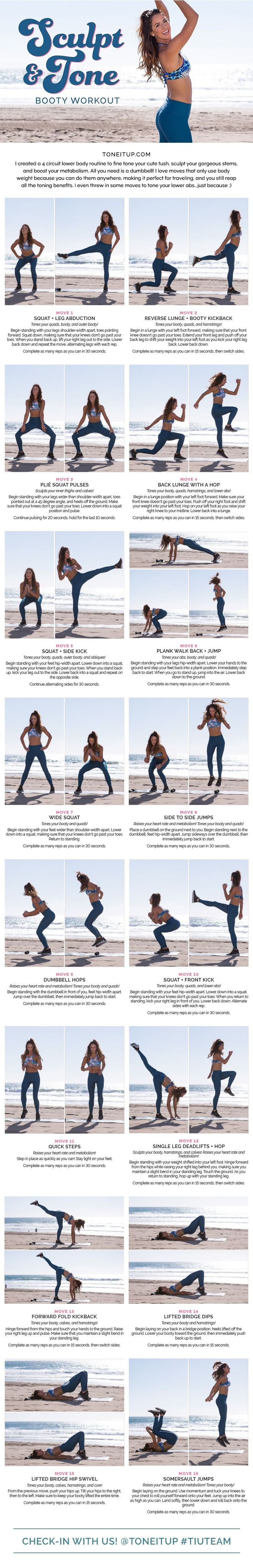 Try out this 4 circuit lower body routine to fine tone your cute booty, sculpt your gorgeous legs, and boost your metabolism. All you need is a dumbbell!