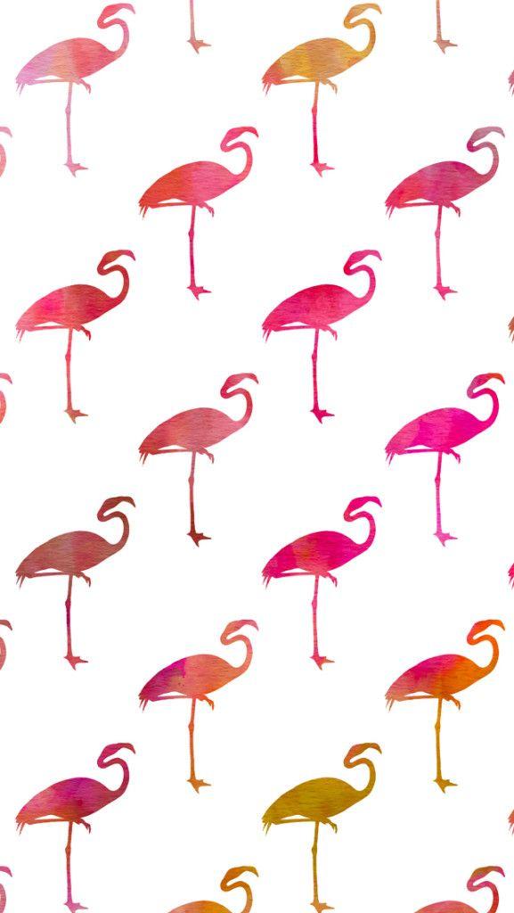 Free Watercolor Flamingos iPhone Wallpaper