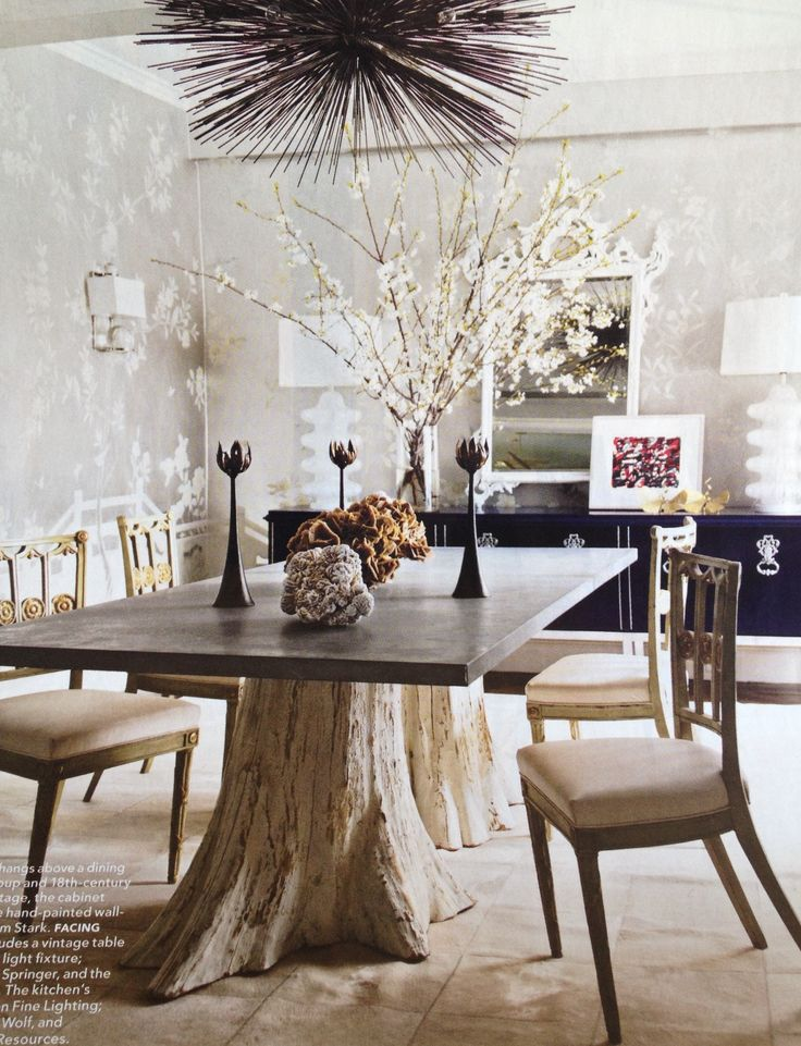 I've always wanted a table with tree trunks for the base, beautifully organic in design.