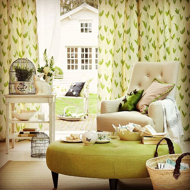 Kick back, it's Sunday! #sunday #chill #kickback #interior #photography #design #soft #furnishings #greensofa #green #room #greencurtains #spring #leaves #greenpoufe