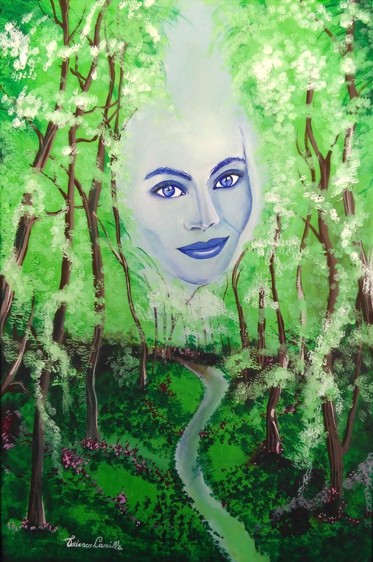 """Commissione privata di un dipinto dal genere fantastico.  Titolo scelto: """"Lo sguardo della natura"""" Tecnica: """"colori acrilici su tela, di misure 40x60. cm"""