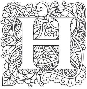 Mendhika Letter H image Coloring letters Letter b