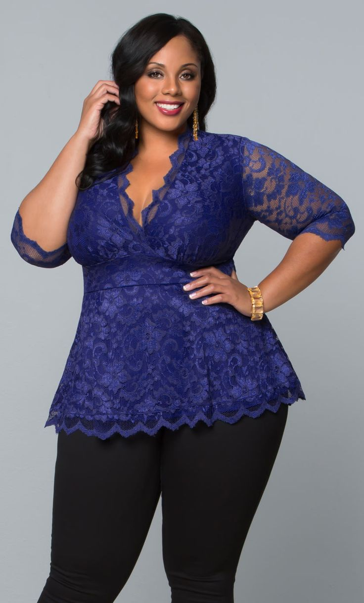 Our sapphire plus size Linden Lace Top is bright and beautiful.  www.kiyonna.com  #KiyonnaPlusYou  #MadeintheUSA  #SemiFormal