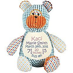 Personalized Stuffed Harlequin Bear with Embroidered Baby Block in Light Pink, Lavender, and Light Blue