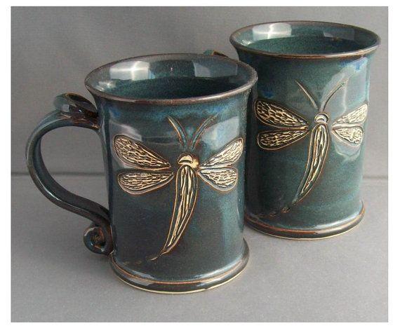 Hand carved dragonfly blue large mug
