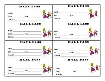 Set of Hall Passes for Students -- Hall Pass, Guidance Counselor Pass, Nurse's Office Pass, Restroom Pass, etc.