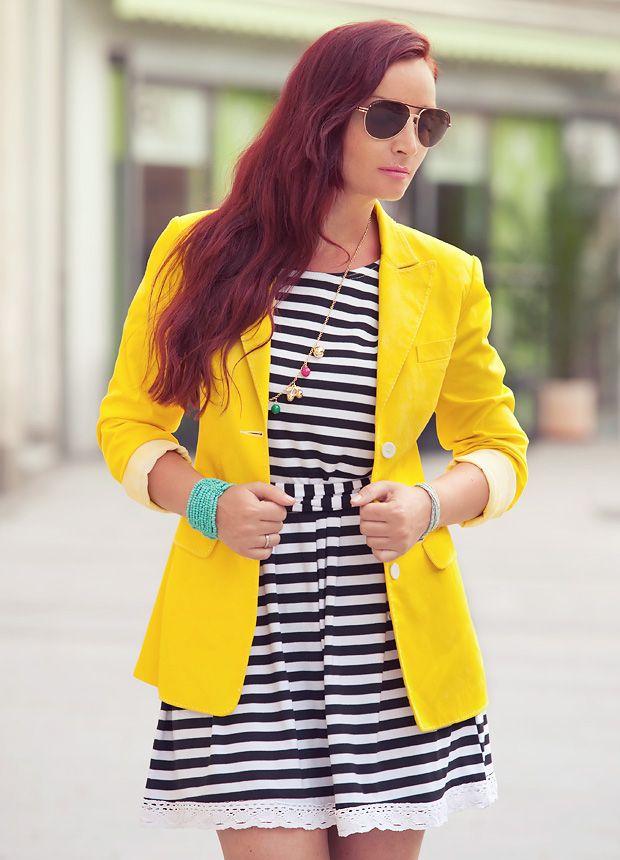 Yellow black striped dress