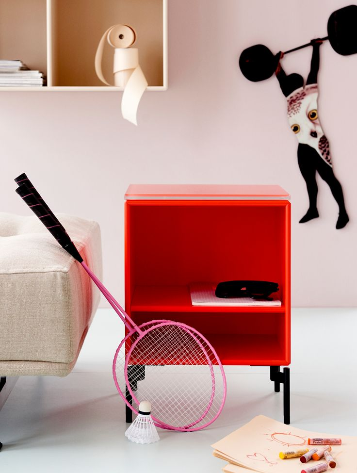 STAY - side table with glass top from Montana Collection in the colour Zen Red
