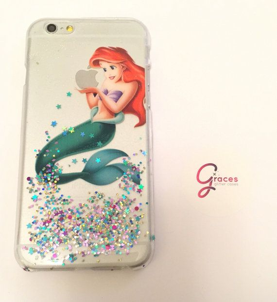 Ariel the Little Mermaid iPhone 6+/ s 6 plus 6s, 6, 5s, 5c, 5, 4s, 4 phone case Samsung S3, S4, S5, S6, S6 edge, Note 4 case Disney glitter