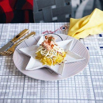 Hot-smoked salmon, apple and celeriac remoulade and potato cakes