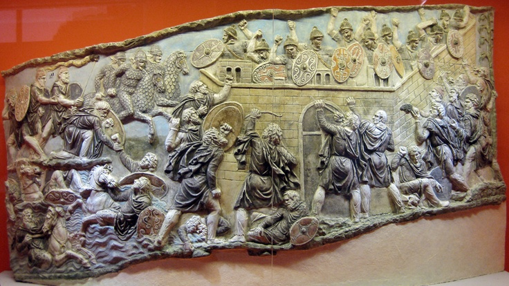 Painted plaster copy of a scene depicting a Roman army besieged by Dacians from the Column of Trajan in Rome, early 2nd cent. AD. (Photo: AIRC)
