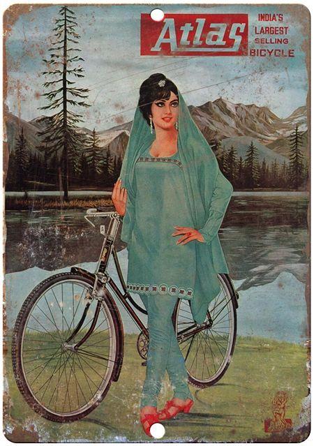atlas bikes, india bike, india bicycles, vintage india advertising, vintage metal sign, retro metal sign, reproduction metal sign