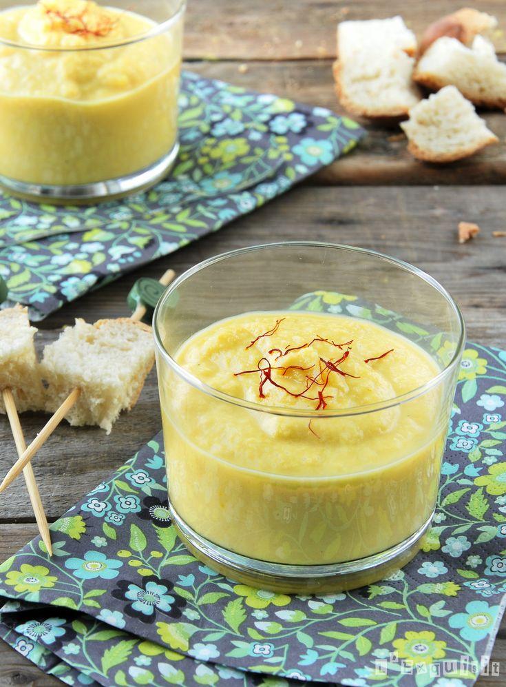 Crema de coliflor con curry y cheddar.-    Se puede servir como primer plato o en vasitos para aperitivo o degustación.