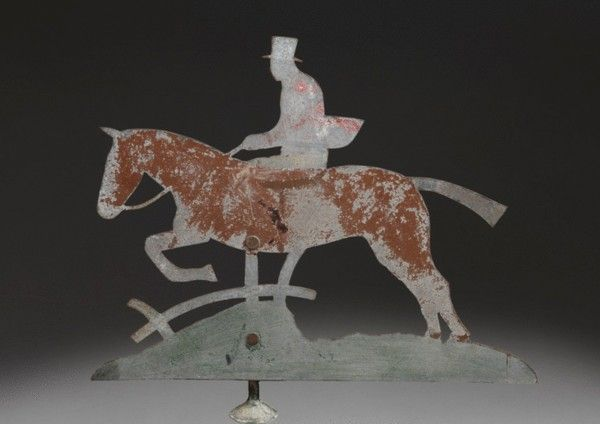 Horse & rider silhouette folk art; zinc with traces of original painted surface, English, ca 1880