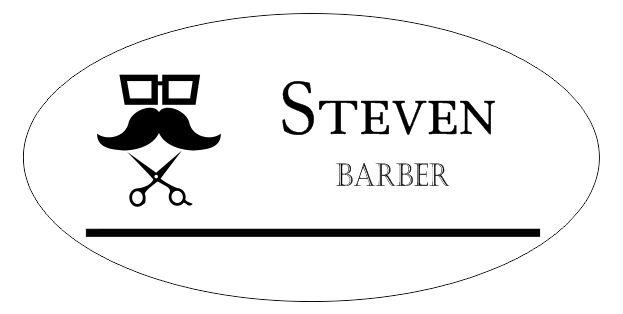 Barber Shop 2 Line Oval Name Tag - NameTagWizard.com