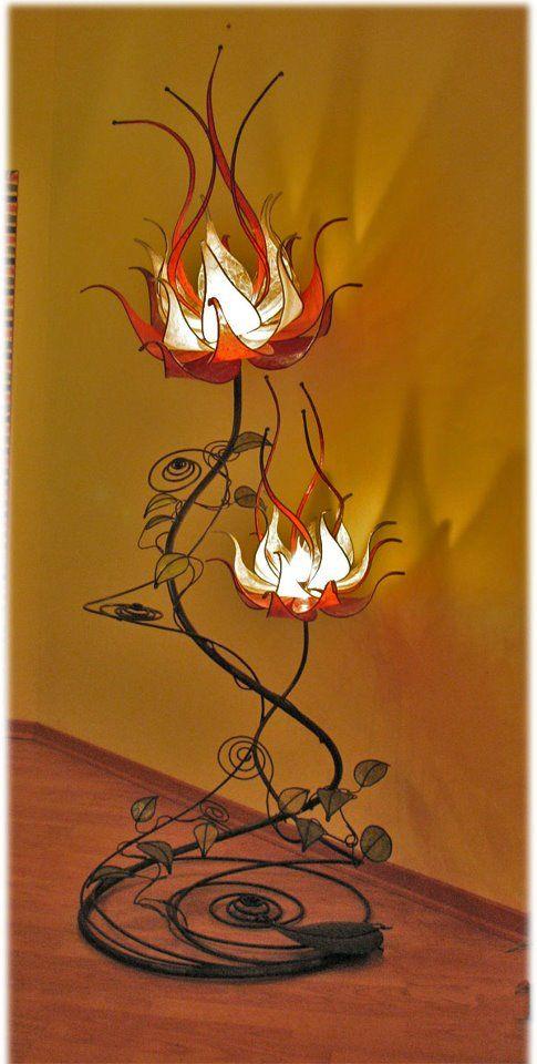Custom Made Italian Red/Orange Fire Flower Floor Lamp