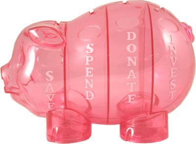 Money Savvy Pig piggy bank in PINK is great gift for birthdays, baby showers and holidays.  Kids learn they have choices for money: SAVE, SPEND, DONATE & INVEST.  $18.99 at www.msgen.com