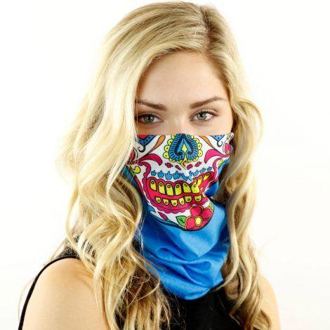 candy sugar skull teal motorcycle face mask bandana HRB18