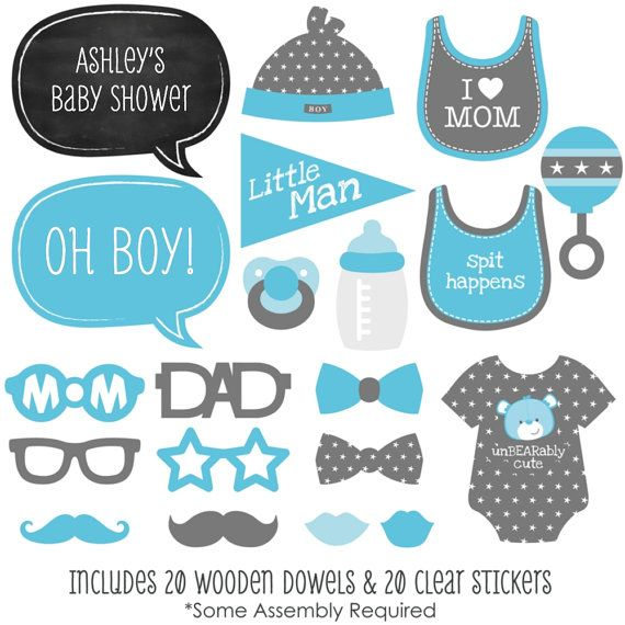 20 Baby Shower Photo Booth Props Blue Boy by BigDotOfHappiness