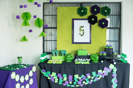 A new twist on modern for a geometric Hulk birthday party.