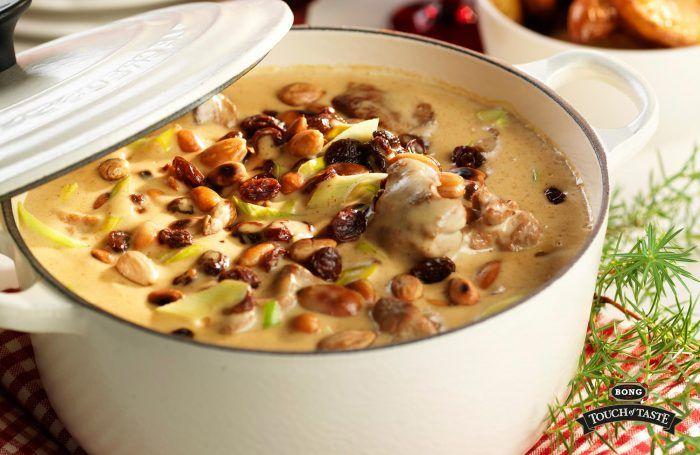 Krämig gryta med russin, ingefära och mandel
