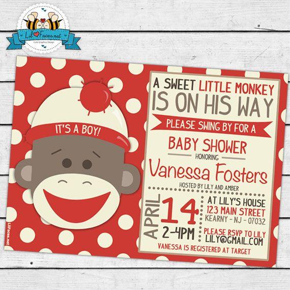 printable sock monkey baby shower cute by