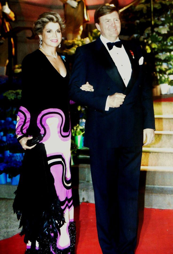 Maxima in Tom Ford jurk bij de contraprestatie in Frankrijk.