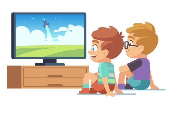 Kids Watch Tv Children Movie Home Boy G Premium Vector Freepik Vector Kids Children Cartoo Drawing Lessons For Kids Kid Movies Children Illustration