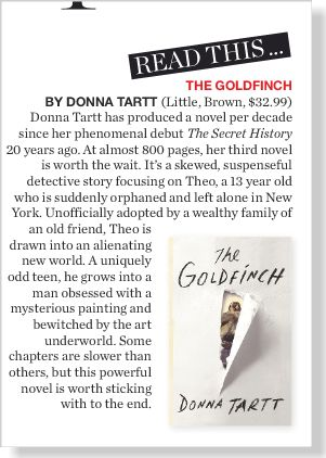The Goldfinch by Donna Tartt. Clipped from ©marie claire Australia using Netpage.