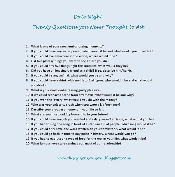 interesting questions to ask speed dating Wondering how to get the date started here are some interesting questions to ask a girl to get to know her more, and create good opportunities to improve on the conversation.