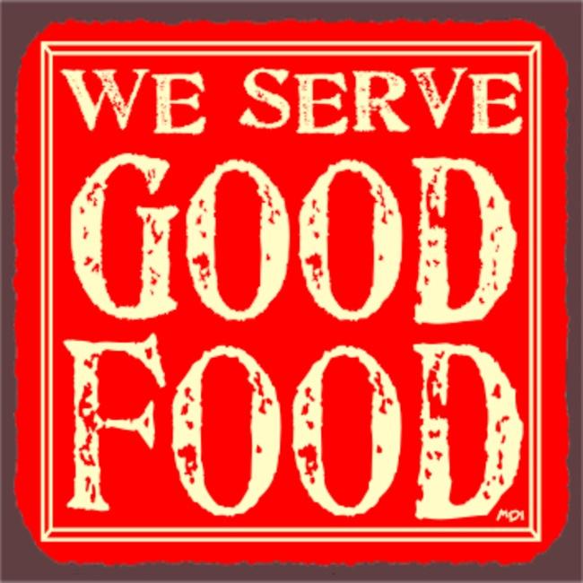 We Serve Good Food Red Vintage Metal Art Restaurant Tin Sign