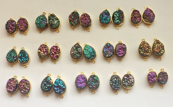 4 Pcs Matched Pair Titanium Druzy Connectors by gemsforjewels