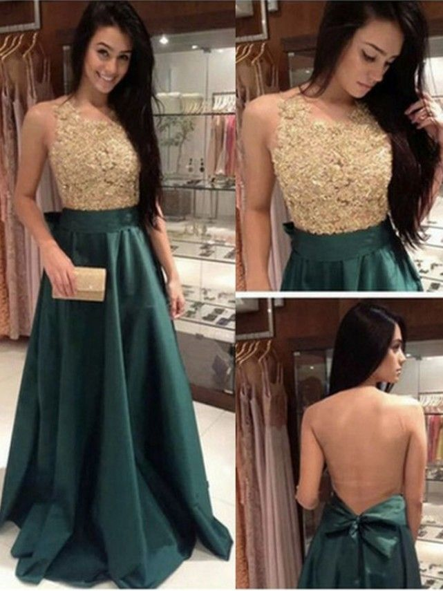 A-Line Lace See Through Back Long Prom Evening Formal Dresses 99602099
