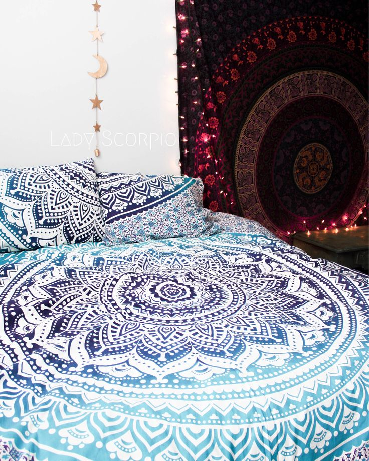 Lady Scorpio Mandala Duvet Cover Set. Beautiful Bohemian Bedroom